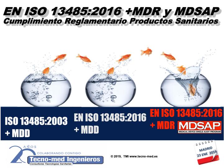 1901T - EN ISO 13485:2016 + MDR y MDSAP. CUMPLIMIENTO REGLAMENTARIO PRODUCTOS SANITARIOS- ON-LINE - Curso realizado presencialmente los días 17 y 23 de enero en Barcelona y Madrid respectivamente. Ahora ON-LINE-  El curso es de 25 horas ( Y se podrá realizar en 3 meses)  en la web de formación http://formacion.tecnologias-sanitarias.com/course/view.php?id=150  ( Precio incluye acceso al portal tele-formación, documentación de referencia y certificado de aprovechamiento después de superar el examen). Teléfono de contacto : 91 503 02 72  WhatsApp para Inscripciones : 637 682692 Sr. Fontanals.
