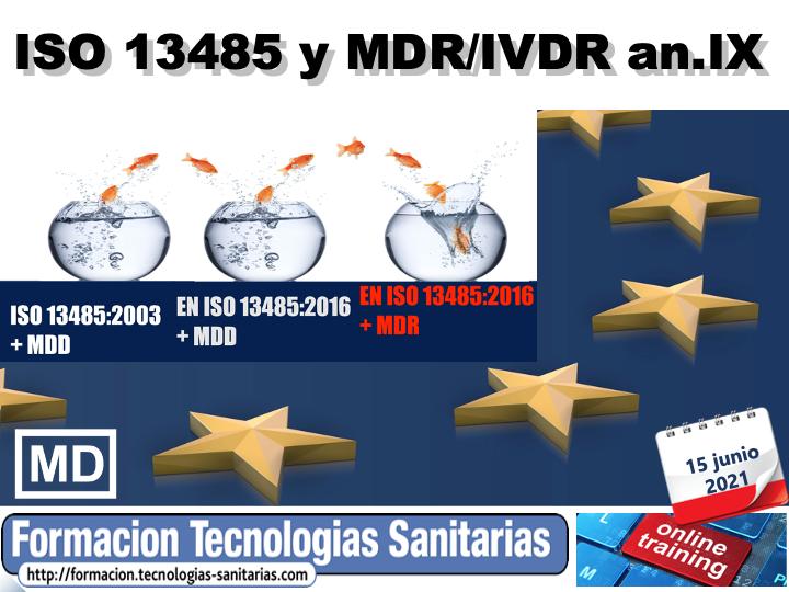 2105 - EN ISO 13485 Y MDR / IVDR ANEXO IX - SISTEMA DE GESTIÓN DE CALIDAD DE P.SANITAR - 15 JUN 2021