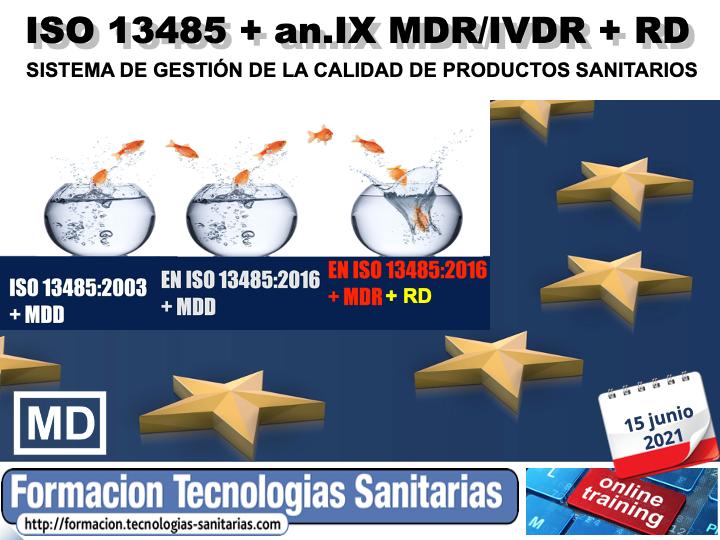 2105T-  EN ISO 13485 + Anex.IX MDR/IVDR + RD – SISTEMA GESTIÓN CALIDAD P. SANITARIOS  ON-LINE